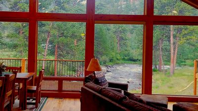 Photo for Model Home on the Big Thompson River with AC & Walk to Town, Very Close to RMNP!