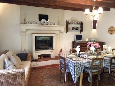 Chez Aline - typical farmhouse kitchen with feature fireplace for chillier days!