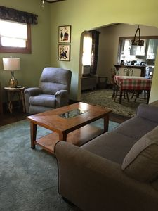Comfortable living space with room to move about, watch a movie, or make coffee.