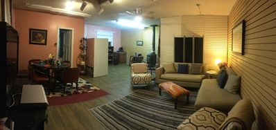 Pano of what you see when you walk in.  additional bed/bedroom behind the screen