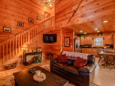 Photo for 4BR Cabin, Views, Hot Tub, Pool Table, Central Boone Location, Close to Skiing, Snow Tubing, Zipline