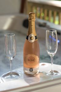 Grab your fav bottle of bubbly to enjoy in the  6 person hot tub!
