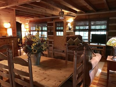 Photo for Beautiful Real Log Cabin.... Not your average cabin! Hot Tub. Wifi. Fire Pit