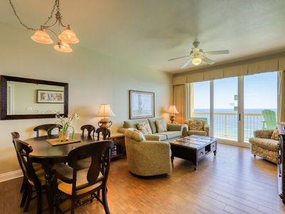 Photo for Two bedroom beachfront w/ private balcony and shared pool!