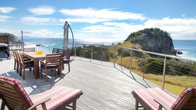 Photo for Absolute waterfront beach house with massive deck - family and dog friendly