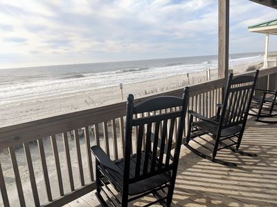 Photo for Oceanfront pet friendly beach house.  Sleeps 10.  Perfect location!