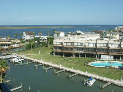 Photo for Efficiency Water View Condo-Sleeps 4! Large Pool-Private Fishing Pier-Boat Slips