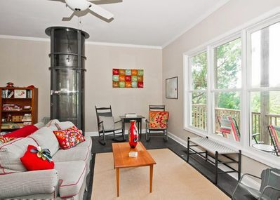 The living room is a comfortable place to relax after a day of enjoying the beach.