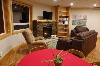 Family area with gas fireplace. A flip of the switch ignites it. Easy.