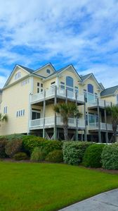 Oceanside of the townhome with large windows for lots of sunshine and views