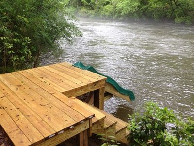 Photo for Quiet area on river w 6tubes, kayaks, rope swing, slide, gt. fishing