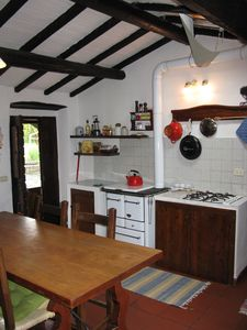 In the kitchen you can also cook on the wooden stove