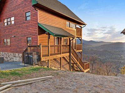 Photo for Mountain view cabin w/ private hot tub, game room, fireplaces & shared pool!