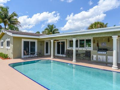 Photo for Canal-front home w/ private 36-foot dock, pool & BBQ patio grill