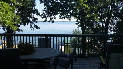 Incredible view of the lake from the large deck off the main open living area