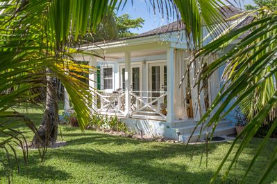 Touchstone's Cottage nestled in the coconut palms.