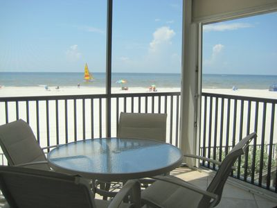 The condo is on the Beach! Gorgeous views of Gulf & sunset from lanai.
