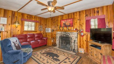 Photo for Whispering Pine Cabins - Cozy Hot Tub Cabin with Fire Table and Forest Views