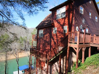"Photo for 'Jolly Mon"" Lakefront cabin w/ private dock & hot tub, community pool"