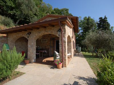 Photo for Private Villa with private pool, WIFI, TV, veranda, panoramic view, parking, close to Viareggio