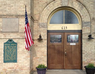 front entrance and historical markers