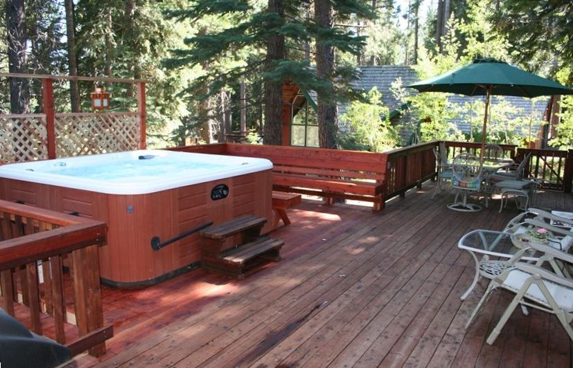 Hot Springs Grande Hot Tub, outdoor speakers on huge deck