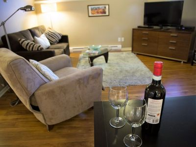 You can relax in the sitting room in your recliner chair and watch the large flat screen tv