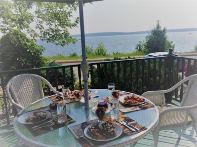 Breakfast for 4 on the front deck over looking the lake