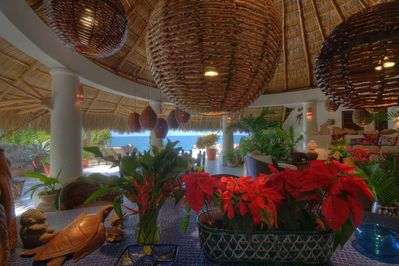 View from inside the open palapa, the interior and exterior flow seamlessly