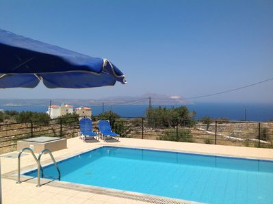 Pool with views over Souda Bay