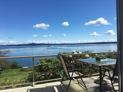 Photo for Oceanfront home in Chemainus on a half acre lot sloping down to the ocean.