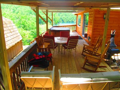 Fantastic, fun, lakeview, deck with hot tub! couch, rockers, grill, chiminea!