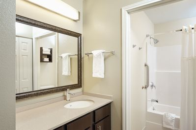 Bright bathrooms are refreshing after a day of adventure.
