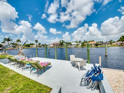 4 Sun Lounge Chairs on Waterside Patio