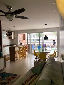 Photo for Paradise Apt 126 mts + 3 suites + 3 vg- Front Sea Beach of Tombo in Guarujá