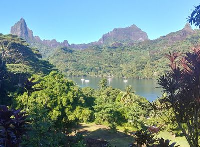 Incredible Views of Opunohu Bay and mountains from the wrap around deck