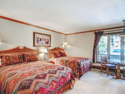 Photo for Comfy Ground level Ski-in/Ski-out Vail Lodge Room, 2 Queen Beds