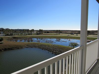 View of lagoon and ocean from deck