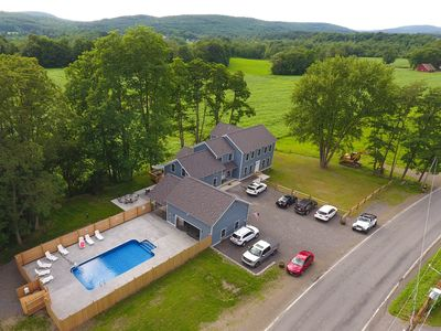 Photo for Look No Further. 2 ½ miles from the Park. Room for the Whole Team. Heated Pool.