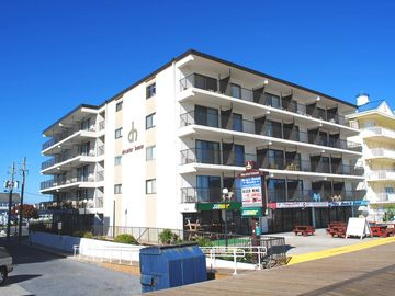 Traditional, cozy 1 bedroom oceanfront condo with free WiFi, HBO, an indoor pool, and a stunning ocean view located downtown right on the boardwalk and steps from the beach!