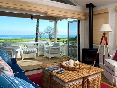 Ocean view from the living room with patio doors open.