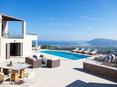 Photo for 10% OFF: Villa with large pool and panoramic view, ideal for groups in Lefkada