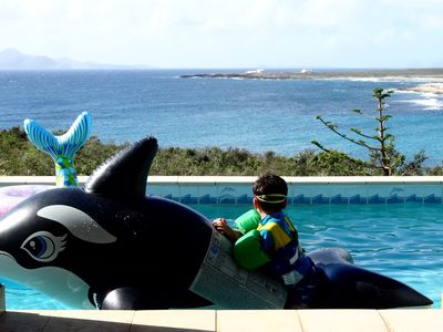 At play with the orca while parents relax in Dec 2017