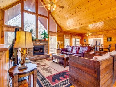 Photo for August Dates Open! Luxury cabin w/hot tub, games, community pool. Best location!