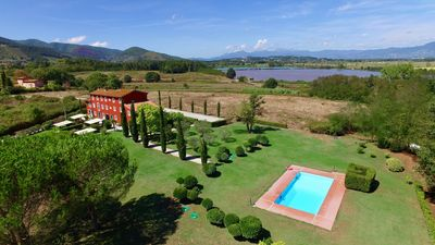Photo for LUCCA!NEW! Modern Tuscan country house in park, pool & stunning panoramic views