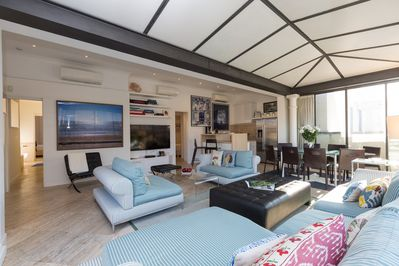 Living room with wide windows to let the light in