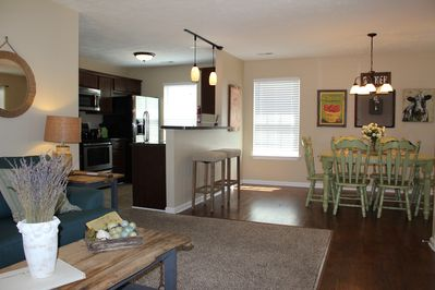 I love the open concept - living room, dining, & kitchen allow for conversation.