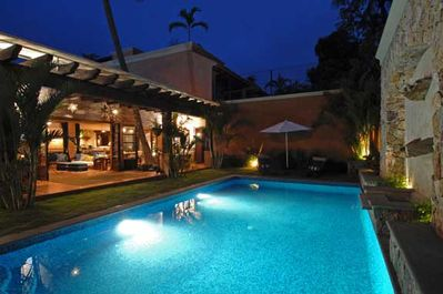 Large Heated 35ft.X 16ft. Salt Water Pool with Stone Fountain Cascade