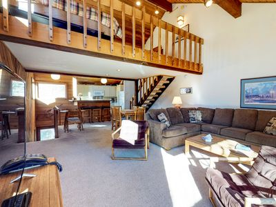 Photo for Three-level mountainview home w/ shared hot tub, close to skiing & golf