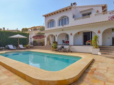 Photo for Beautiful 8-persn villa in Moraira, large terraces and heated swimming pool; unique view